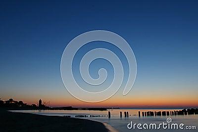 Smooth blue and orange sunset.