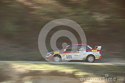 Smooth pan of a rally car Editorial Stock Photo