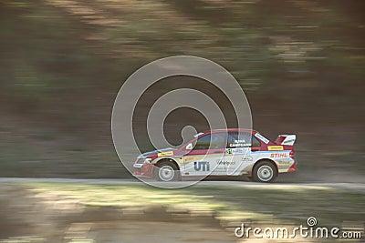 Smooth pan of a rally car Editorial Stock Photo