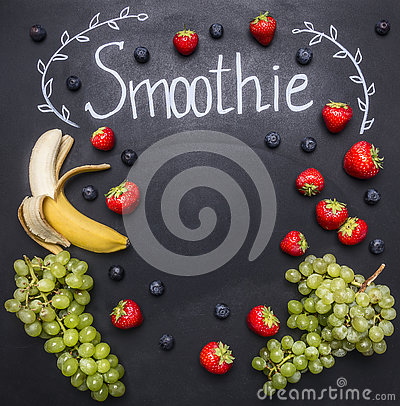 Free Smoothie Ingredients White Wooden Background, Top View, Border. Superfoods And Health Or Detox Diet Food Concept Strawberries, Stock Image - 73552971