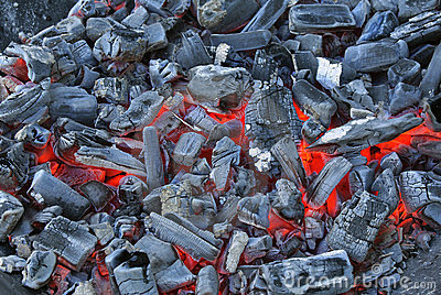 Smouldering charcoal ready for use