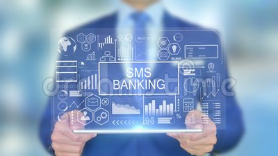 SMS Banking, business man con Hologram Concept archivi video