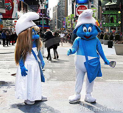 The Smurfs at Times Square Editorial Photo
