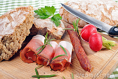 Snack with bacon and sausage