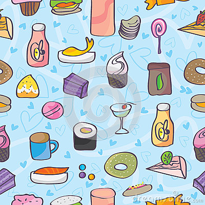 Snack Food Love Doodle Seamless Pattern_eps