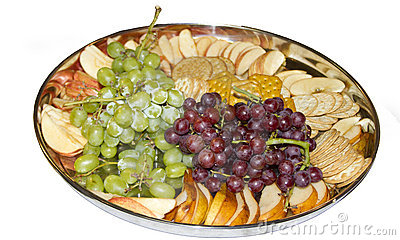 Snack Tray with Grapes, Fruit Slices and Crackers