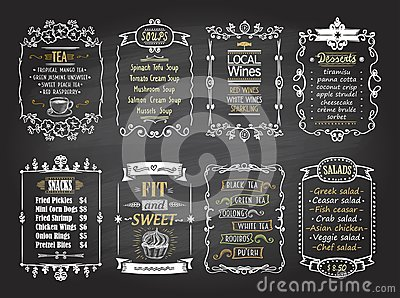 Snacks, salads, desserts, soups, lokal wines and tea chalkboard menu list designs set Vector Illustration