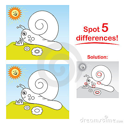 Snail cartoon: Spot 5 differences!