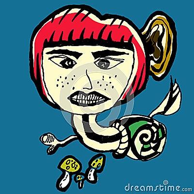 Snail Devil Abstract Cartoon Vector