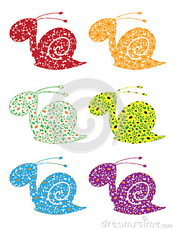 Snail flowers set