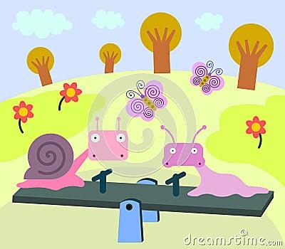 Snail, slug, seesaw