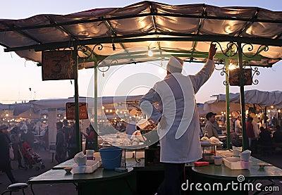 Snail Stall in Djeema El Fna market, Marrakesh Editorial Stock Image