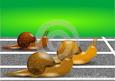 Snails on a racetrack