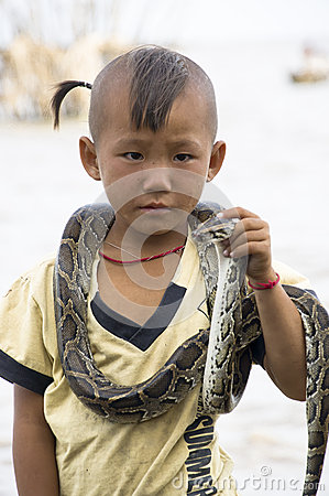 Snake Boy Editorial Stock Photo