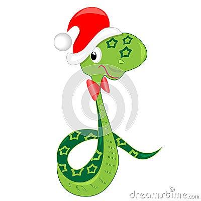 Snake celebrating christmas. illustration