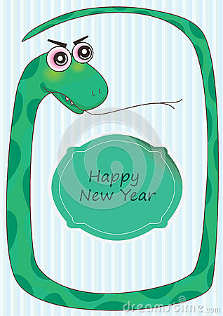 Snake Frame Happy New Year_eps