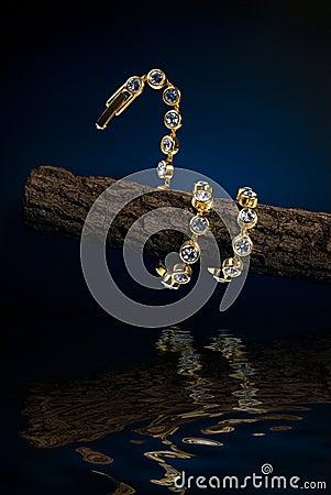 Snake shaped bracelet entwine round the branchlet