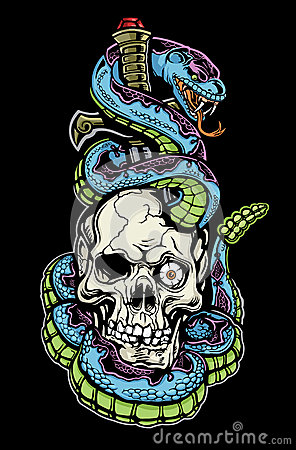 Free Snake, Skull And Dagger Tattoo Stock Image - 29926911