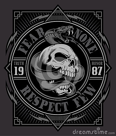 Free Snake Skull T-shirt Graphic Royalty Free Stock Photos - 69525548