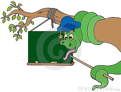 Snake teacher with table on tree