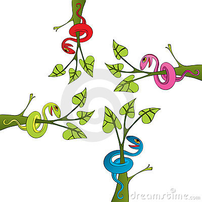 Snake and tree drawing vector