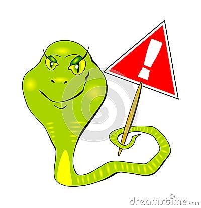 Snake  warning sign of a vector eps10