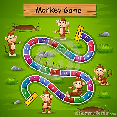 Free Snakes And Ladders Game Monkey Theme Stock Image - 124664801