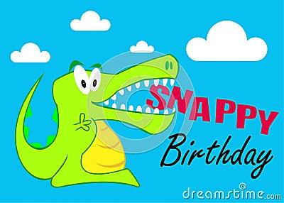 A Snappy Birthday Crocodile Illustration