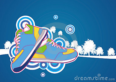 Sneaker with blue forest background