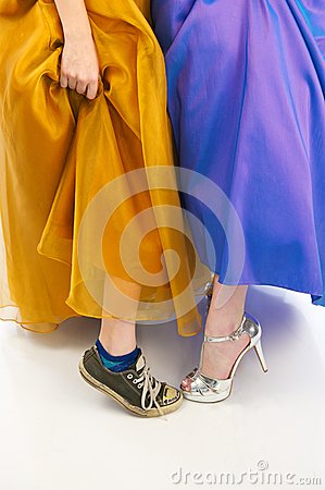 Sneakers and High Heels in Prom Dresses
