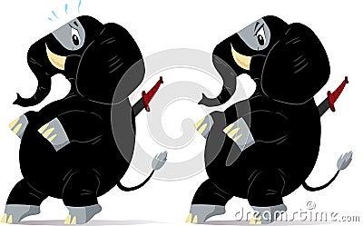 Sneaking, nervous ninja Elephant.