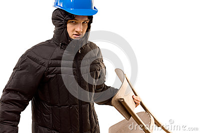 Sneering aggressive thug holding a wooden chair