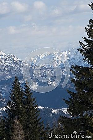 Sneeuw bergenmening