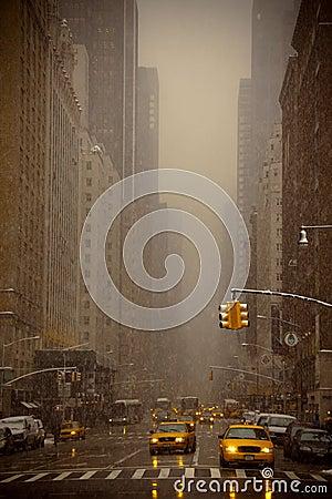 Sneeuw die in New York valt Redactionele Afbeelding
