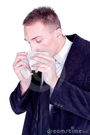 Sneeze... Businessman with a influenza