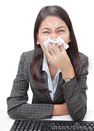 Sneezing businesswoman w flu