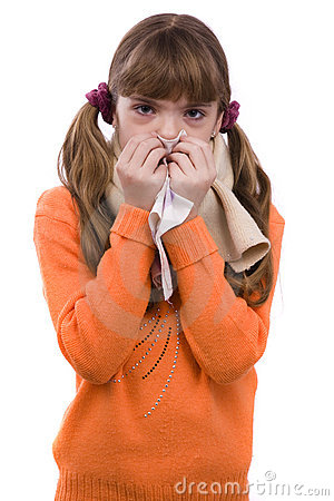 Sneezing. Girl is sick and have sore throat