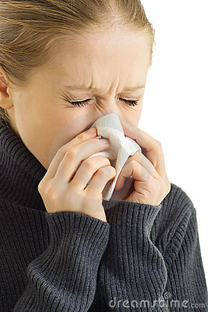 A sneezing woman