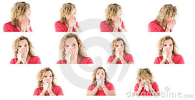 Sneezing woman collection
