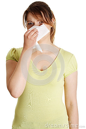 Sneezing Woman having cold or allergy.
