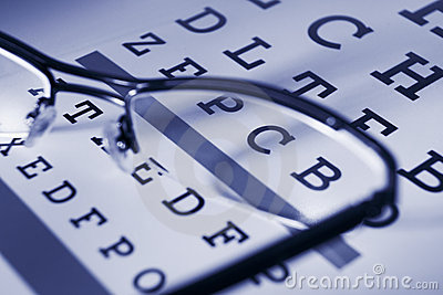 Snellen chart and spectacles