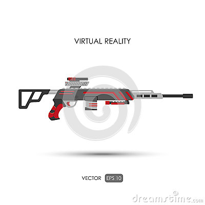 Free Sniper Rifle. Gun For Virtual Reality System. Video Game Weapons Royalty Free Stock Image - 69744486