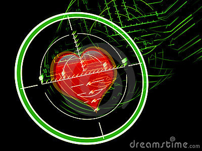 Sniper rifle sight with heart