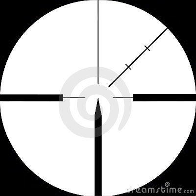 Sniper rifle sight  targeted on. Isolated.