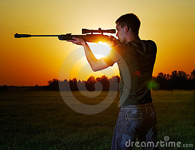 Sniper for a sunset.