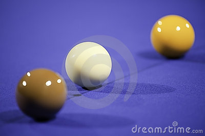 Snooker Balls on Blue Felt