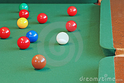 Snooker Balls Focus On White Cue Ball