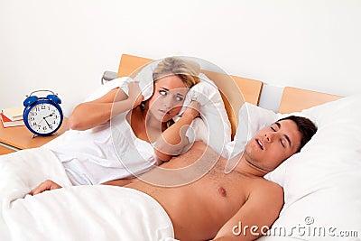 Snoring during sleep is loud and unpleasant