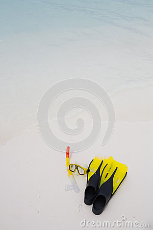 Snorkel equipment on the beach