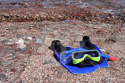 Snorkel, fins, and mask